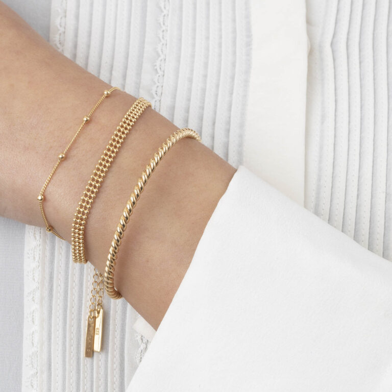 Nais 18K Gold Plated Round twisted textured gold plated bracelet